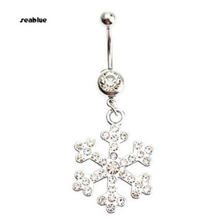Seablue Women S Rhinestone Snowflake Dangle Belly Navel Button Ring Piercing Jewelry