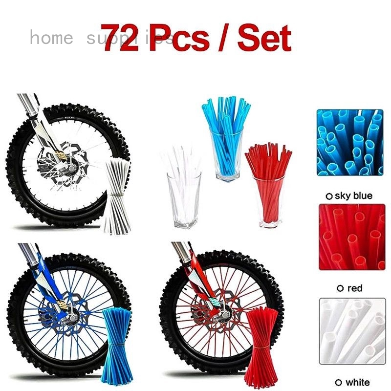 72x Motocross Dirt Pit Bikes Wheel Spoke Wraps Skins Covers Guard Protector Red