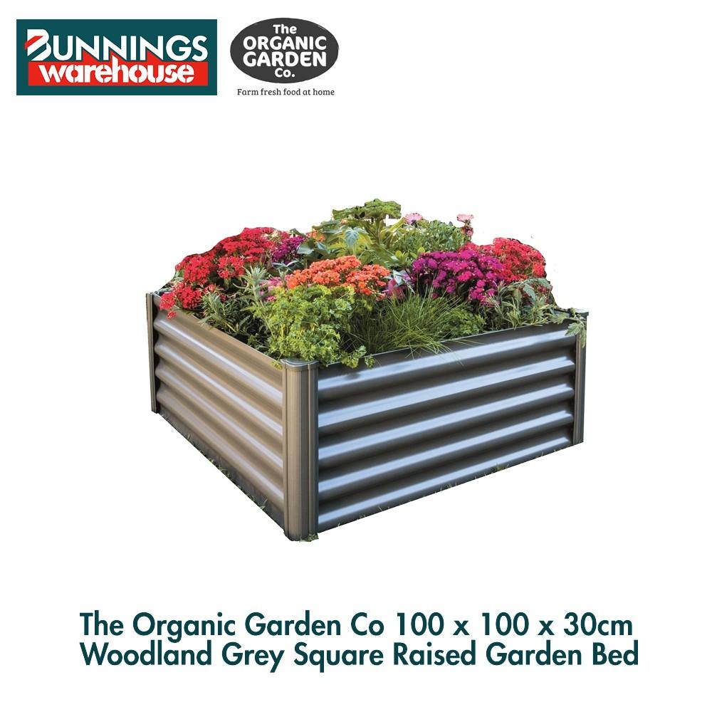 Bunnings The Organic Garden Co #3318229 100 x 100 x 30cm Woodland Grey Square Raised Garden Bed