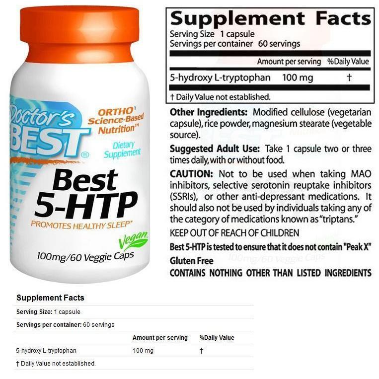 5-HTP 100mg 5HTP 100% Vegetarian 60Vcap L-tryptophan (Depress)