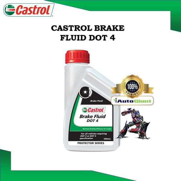 CASTROL BRAKE FLUID DOT 4, 0.5L CASTROL BRAKE FLUID DOT 4, 1L Synthetic Glycols and Borate Ester (100% ORIGINAL)