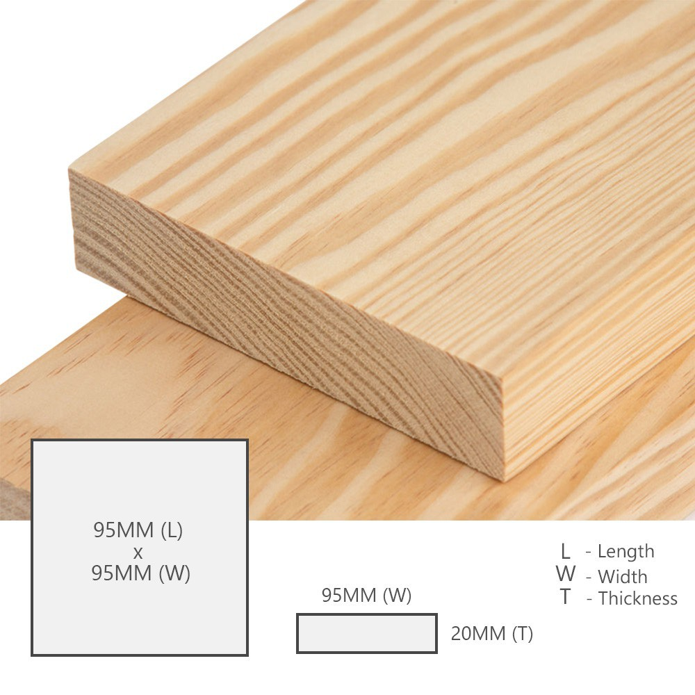 Kayu Pine Wood Timber Smooth Planed Surfaced Four Sides (S4S) 20MM (T) x 95MM (W) x 95MM (L)