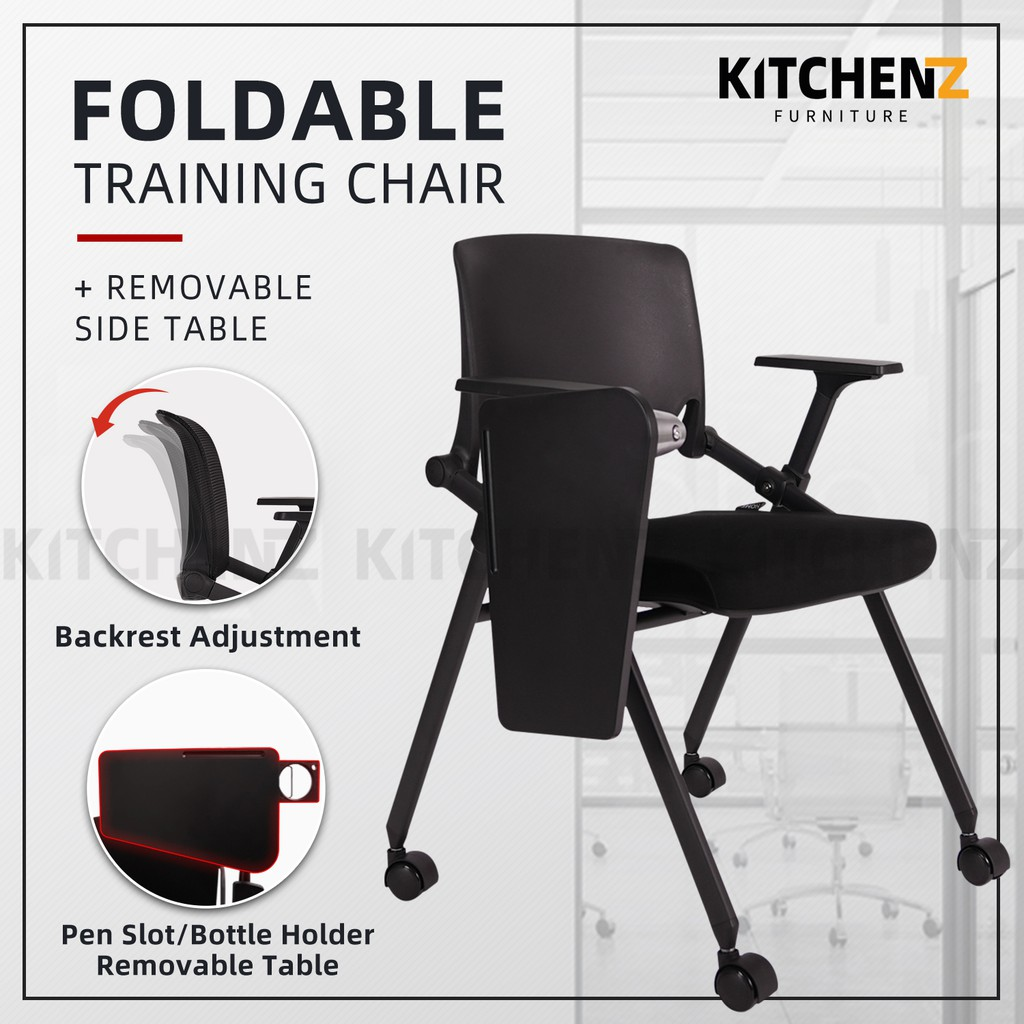 KitchenZ Foldable Nylon Back Office / Training Chair with Side Table / Ergonomic Design / Black - HMZ-OC-MB-9025-BK+BK