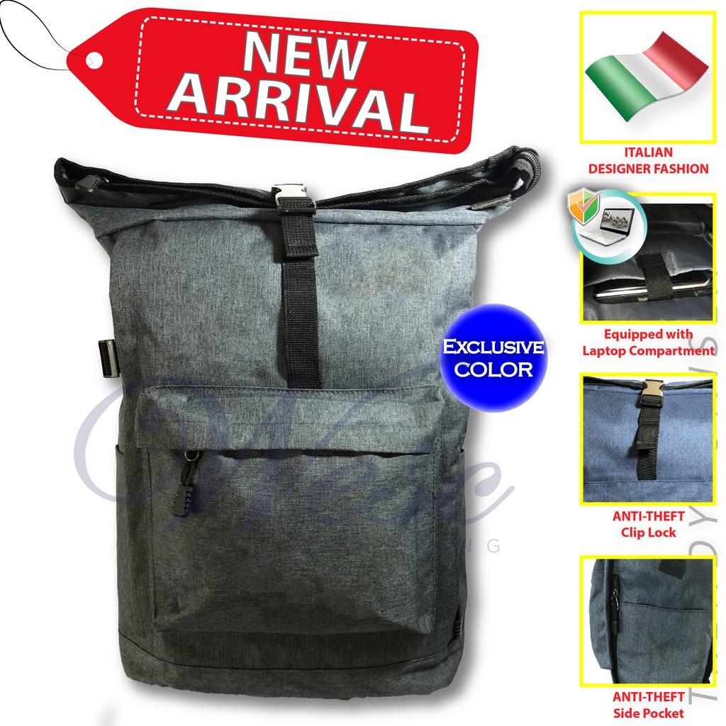 Italian Fashion Designer Laptop & Travel Backpack / Beg Komputer / Laptop Bag / Backpack / Designer Bag (Bluish Grey)