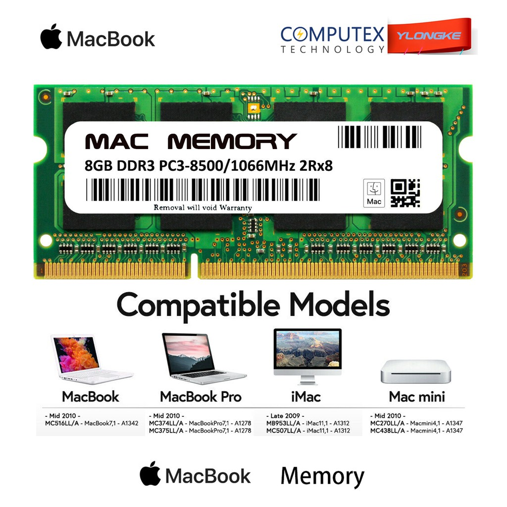 2X 1GB 1066Mhz DDR3 RAM Memory PC3-8500S for MacBook Pro A1297 2009 2010 2011