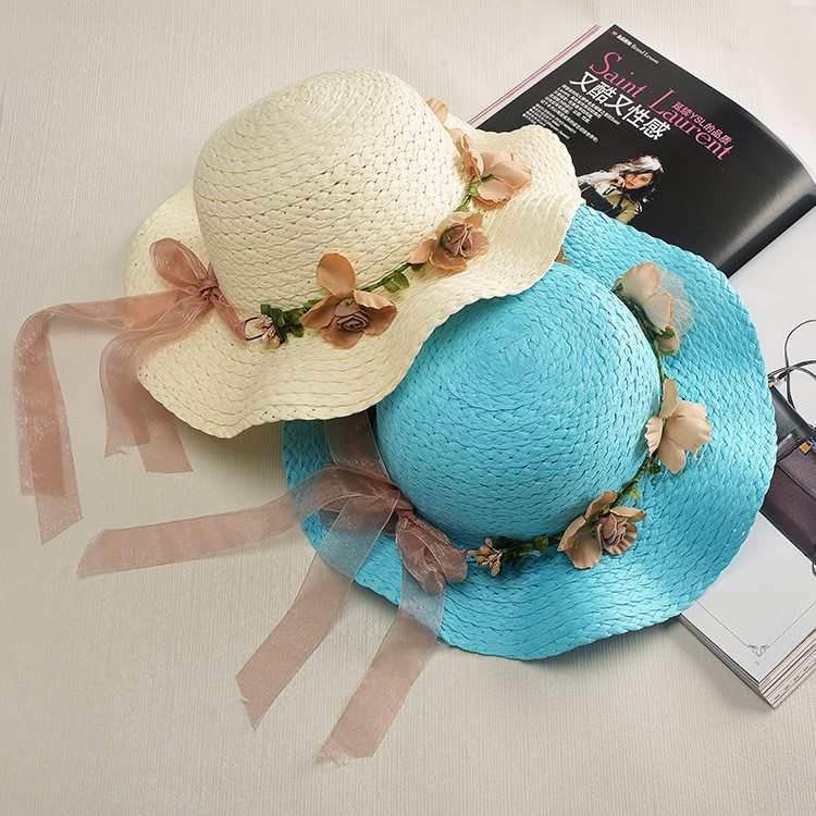 ca11e9f2a0c6c ProductImage. ProductImage. Summer wavy side garland child parent-child  straw hat ...