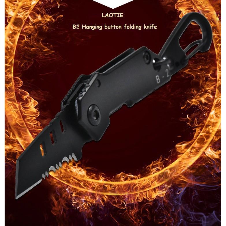 LAOTIE B2 100mm Mini Stainless Steel Folding Knife Outdoor Survival Tools Kit Hiking Climbing Hanging folding knife