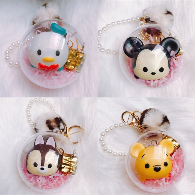Tsum Tsum Crystal Ball Keychain Donald Mickey Winnie Keychain Decoration  Hanger