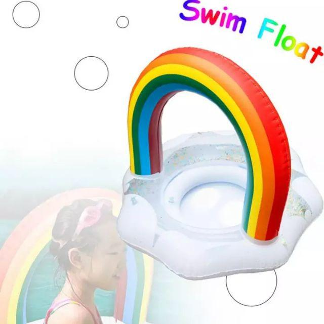 [ READY STOCK ]  Rainbow Swimming Ring Pool Float Baby Seat Inflatable Circle Swim Safety Training for Kid Pool Toy