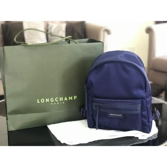 Sales longchamp le pliage cuir leather backpack bag 100%authentic pink  1e1a223c81898