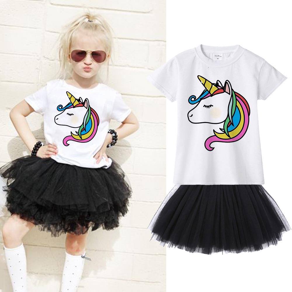 Tutu Skirt Dress Outfit Set Toddler Girl Kid Unicorn Short Sleeve Tops T-shirt