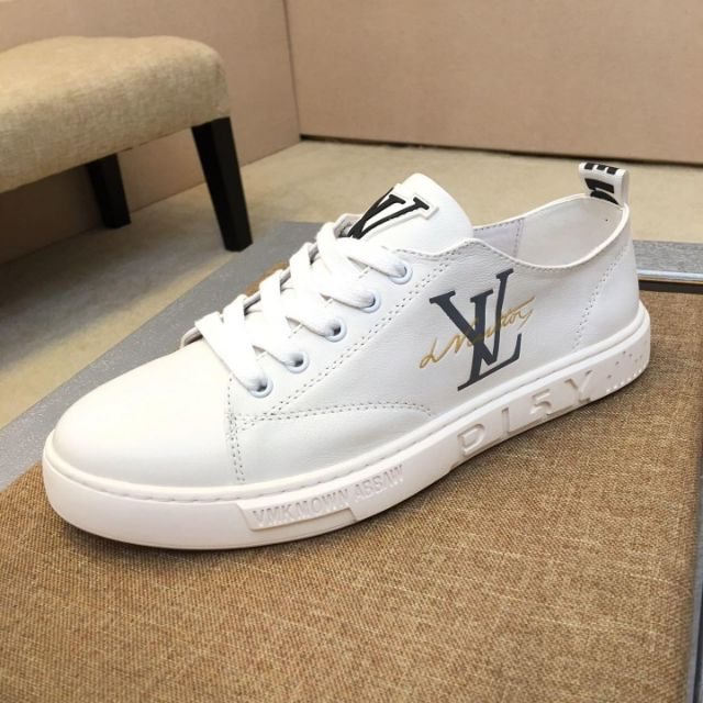 LV2019 new men\'s shoes, leather skate shoes, unisex calfskin casual shoes