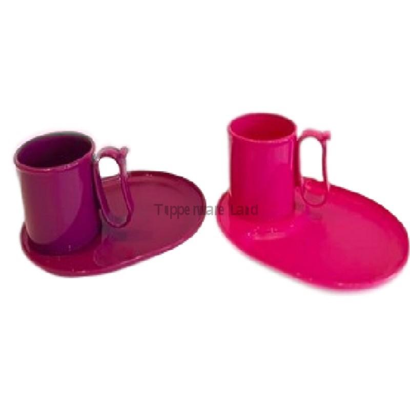 Tupperware Tea 4 Two Set Plate(1) & Mug(1) Purple/Pink