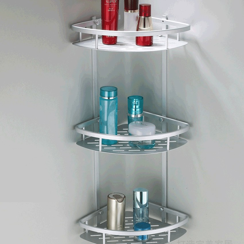 Fast Selling Rak Bucu Bilik Air Corner Shelf Aerospace Aluminium Bathroom Wall Rack R475 3 Tiers Shopee Malaysia