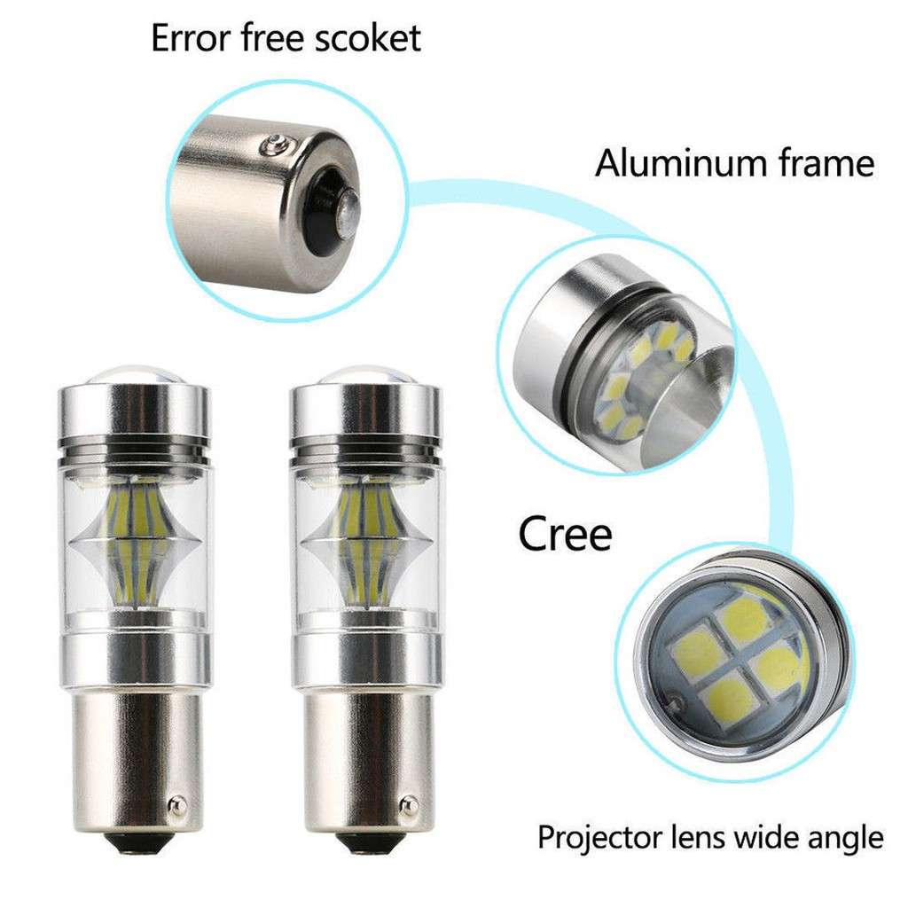 2x 30w 1156//BA15S//382//P21W BRIGHTEST CREE LED AMBER CANBUS*** INDICATOR BULBS