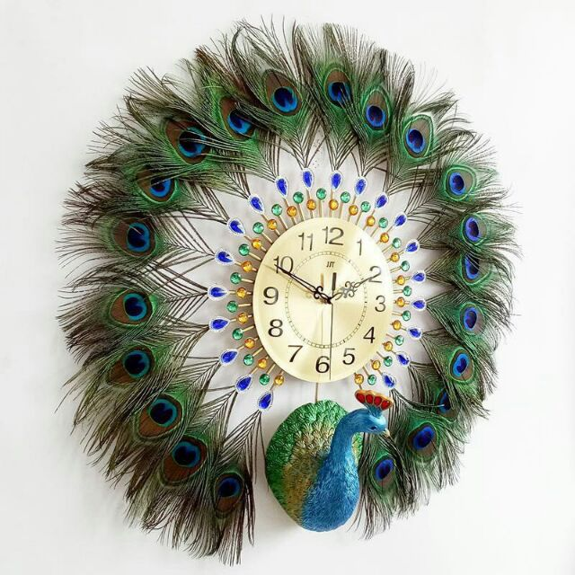 Peacock Feathers Wall Clock Modern Simple Personality Creative Living Room Decoration 66 66 Shopee Malaysia