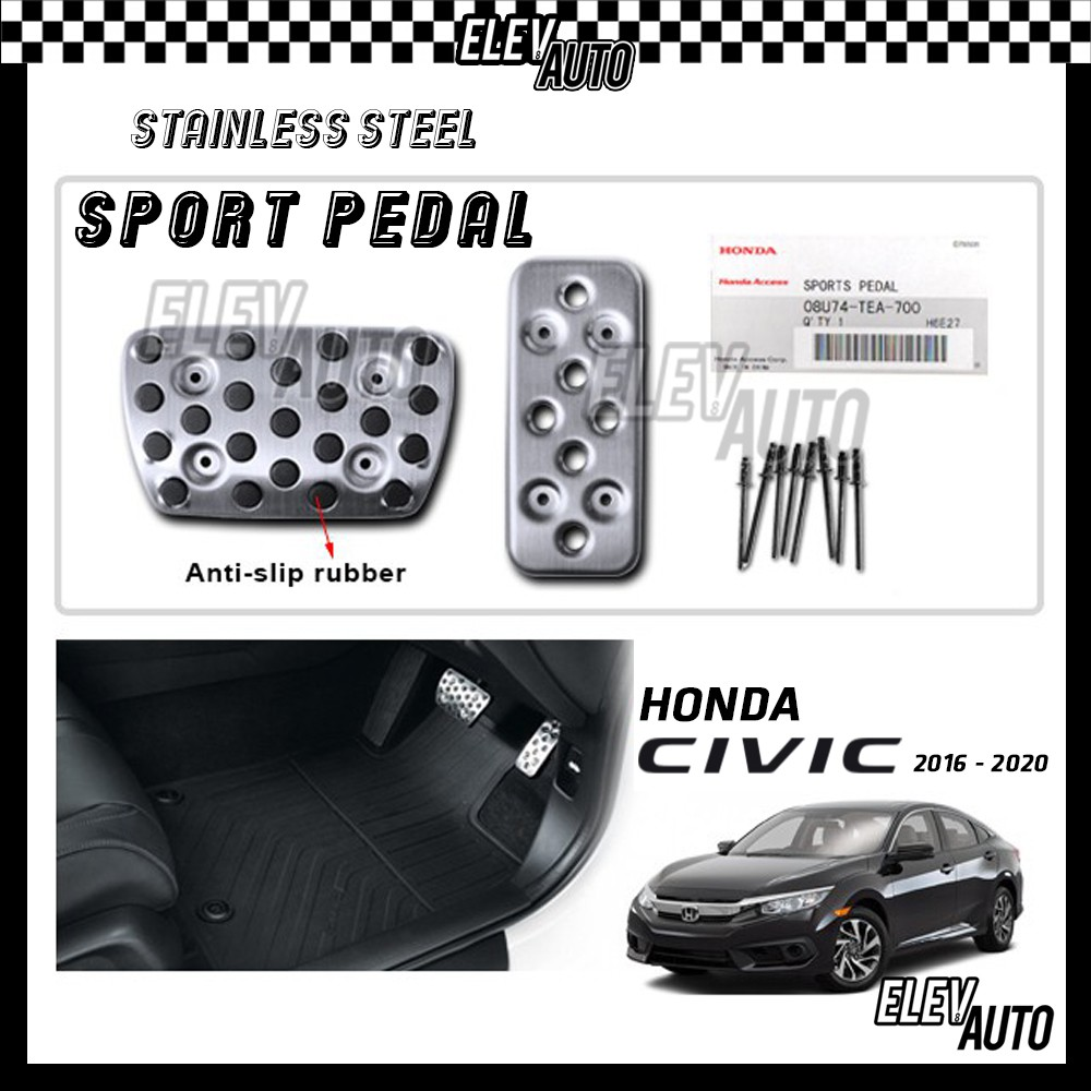 Honda Civic 2016-2021 Stainless Steel Sport Pedal with Anti-slip Rubber