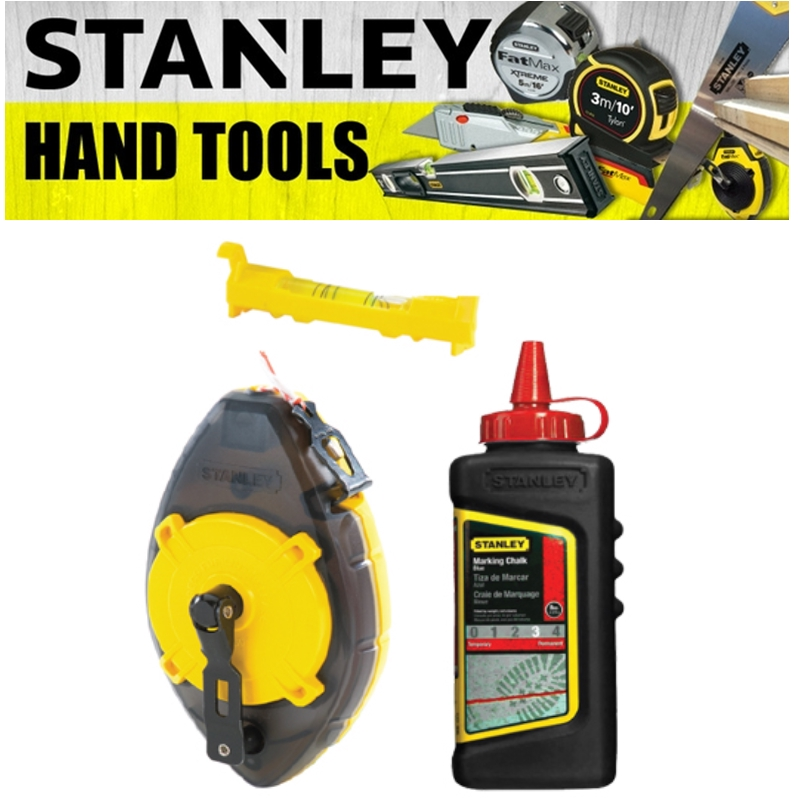 STANLEY POWERWINDER WITH RED CHALK AND LINE LEVEL 47-465 MEASURE TAPE