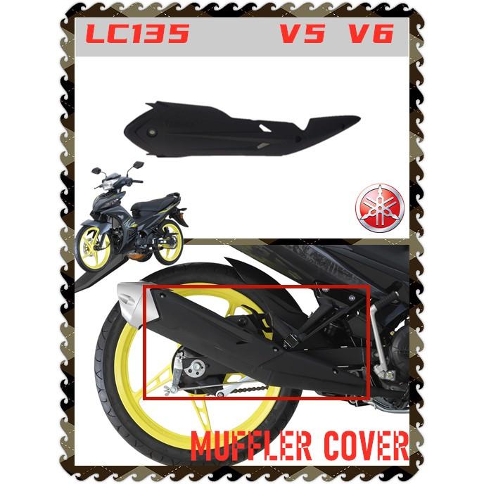 100% ORIGINAL HONG LEONG YAMAHA LC135 V5 V6 NEW EXHAUST PIPE MUFFLER SIDE PROTECTOR COVER PANEL HITAM MATT STANDARD