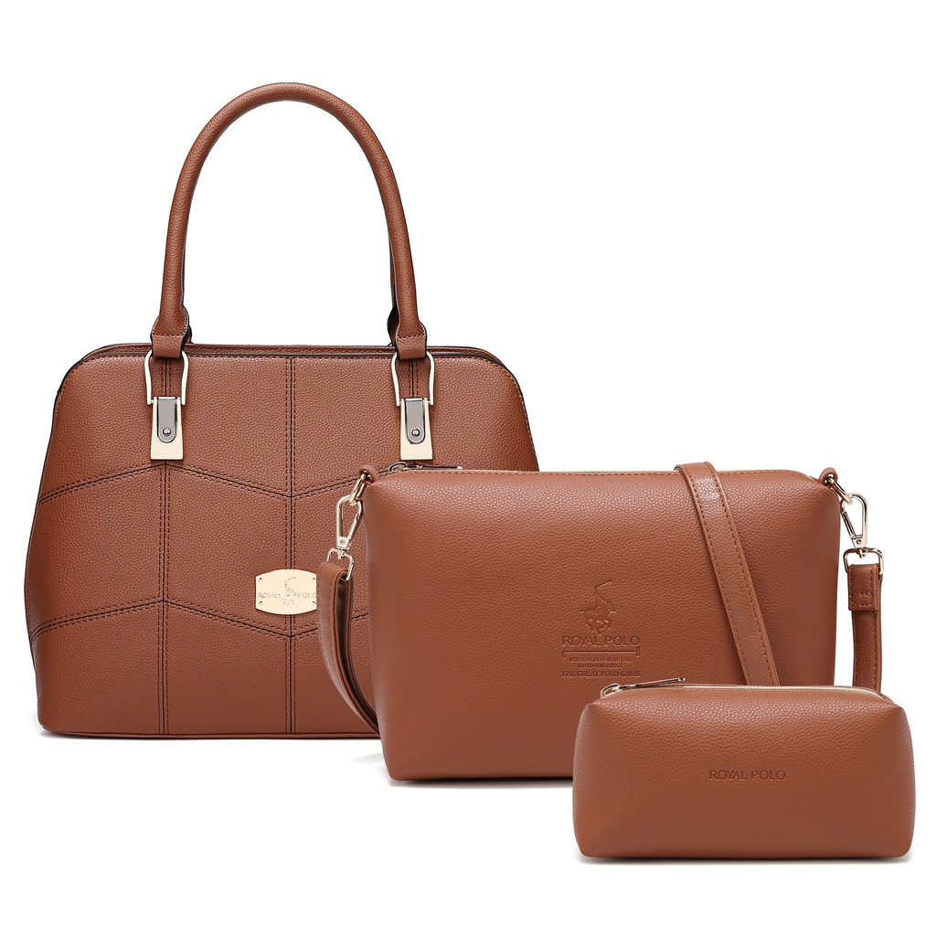 ROYAL POLO Amber Handbag 3 in 1 Set [Free Sling Bag + Wristlet]