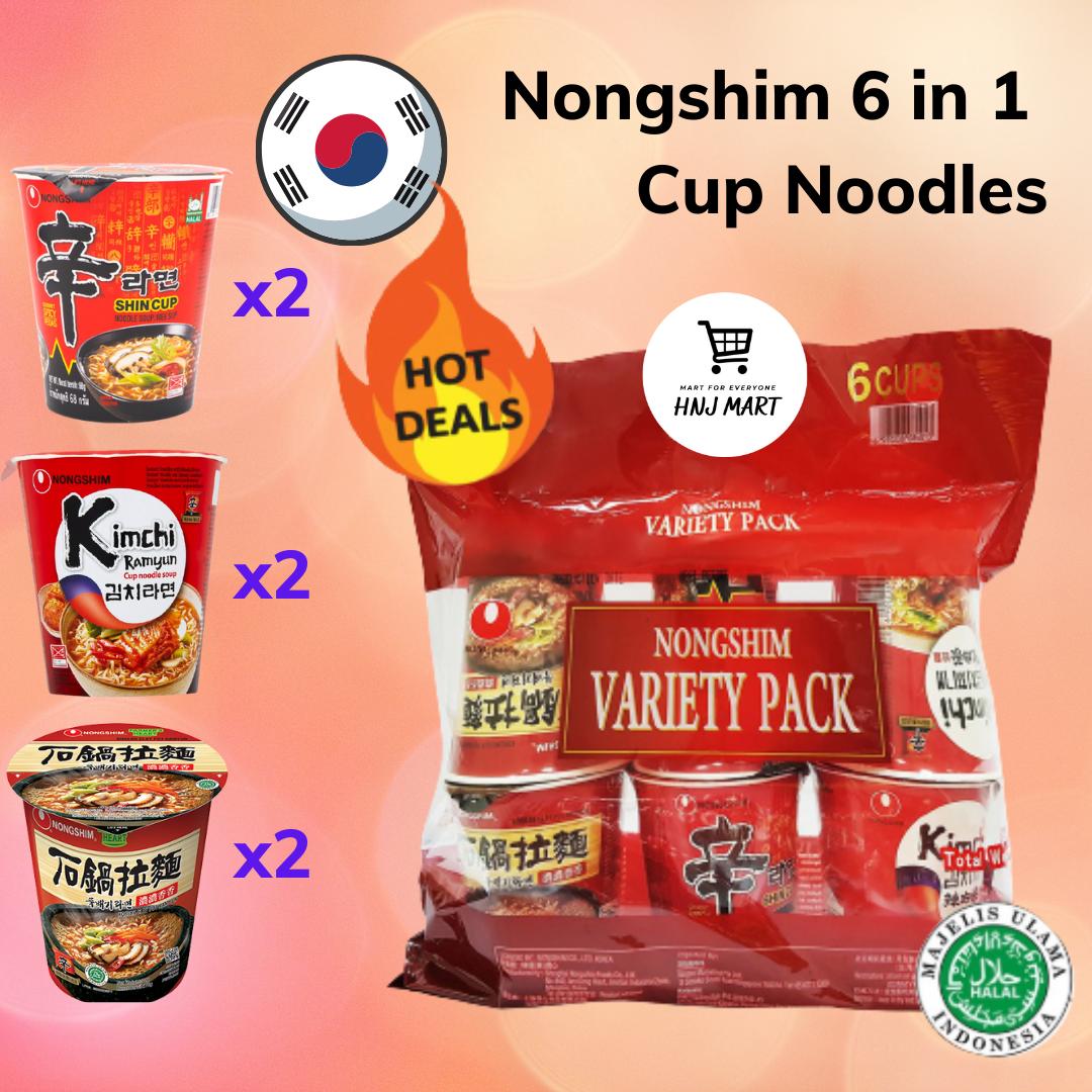 Halal Korea Nongshim Assorted 6 in 1 Cup Noodles [Shin Ramyun x2, Kimchi Ramyun x2, Claypot Ramyun x2]