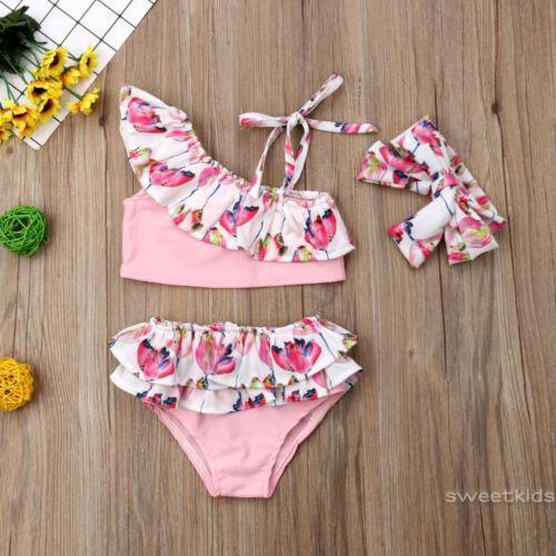 8e50dd72e8 SK☆-3PCS Kids Baby Girl Flower Bikini Set Swimsuit Bathing Suit ...
