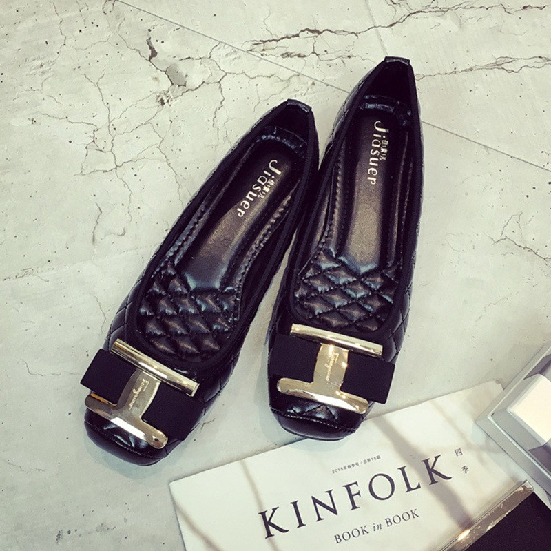 Spring shoes, single shoes, metal buckle, flat shoes