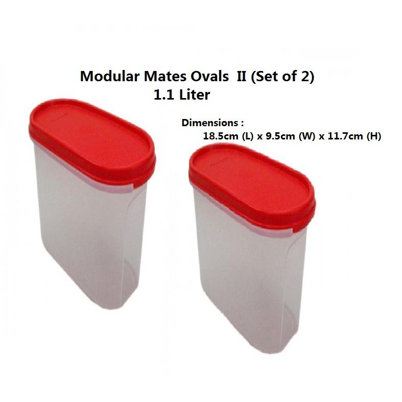 Tupperware Modular Mates Oval II (Set of 2) Red