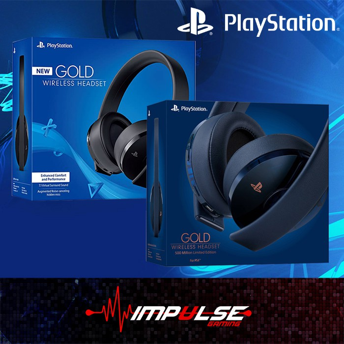 Sony New Gold Wireless 7 1 Headset New Gold Wireless Headset 500m Limited Edition Support Ps4 Pc Mobile Shopee Malaysia