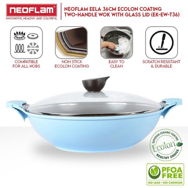 NEOFLAM Eela Ecolon Coating Two-Handle Wok with Glass Lid (36cm) EK-EW-T36