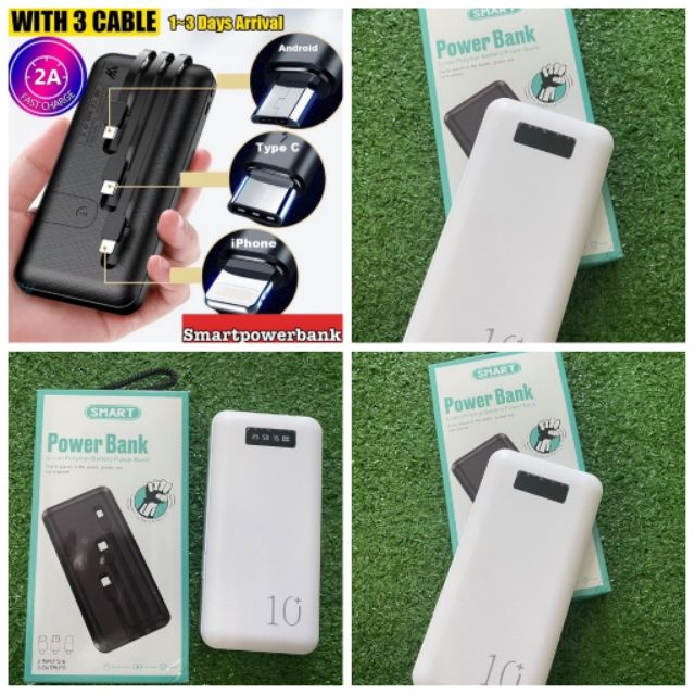 Powerbank 10000mah Portable 3 Output Built In Cable Power Bank Fast Charge Ultra Slim Charger Micro USB IPhone Type C