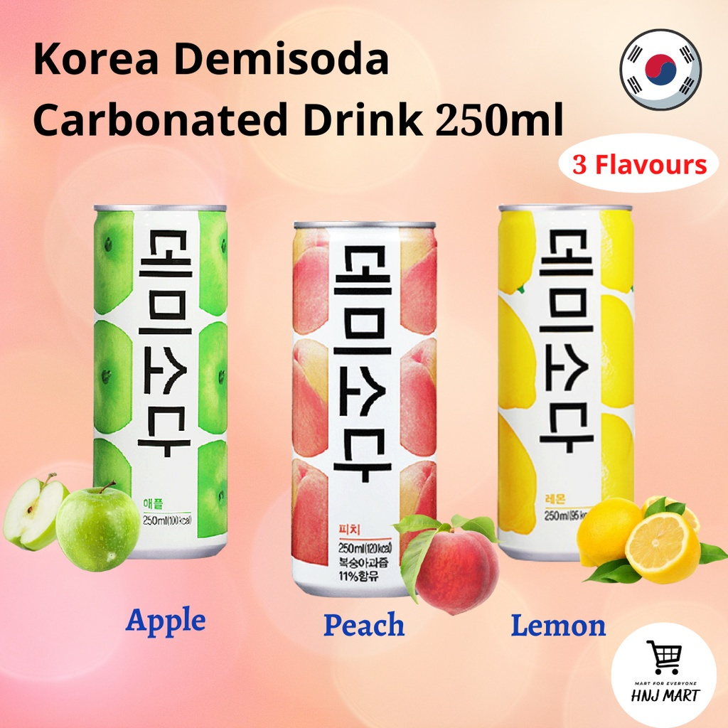 Korea DemiSoda Carbonated Drink 果汁气泡水 250ml [Lemon / Peach / Apple] Soda Drink