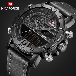 466b05bf8 NAVIFORCE Men Sport Watches Men's Leather Quartz Military LED Analog  Digital | Shopee Malaysia