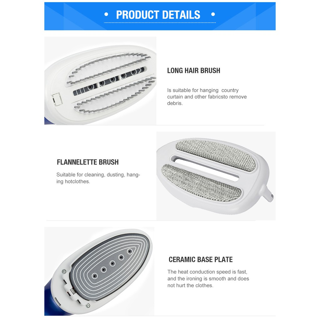 [UPGRADED VERSION] PROFESSIONAL HANDHELD GARMENT STEAMERS IRON PORTABLE FAST HEAT UP CERAMIC SOLEPLATE HOME TRAVEL USE