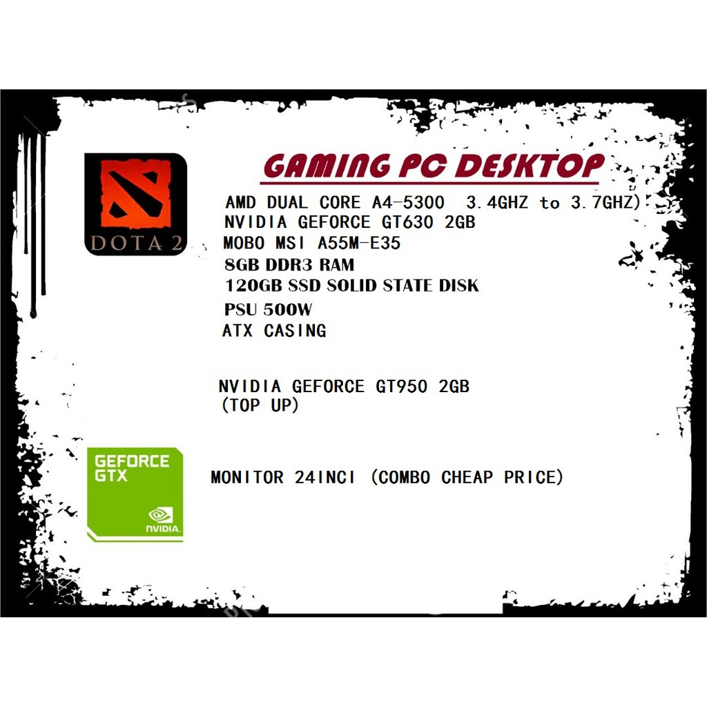 Budget Gaming PC Desktop AMD Dual Core A6-5400K DOTA Set 22