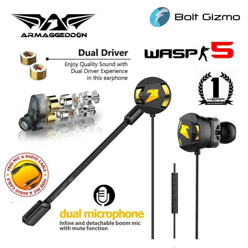 Armaggeddon WASP-5 Gaming Earphones with Dual Driver & Microphone Mic Earbuds Support PC Phone Gamer Earphone Headset