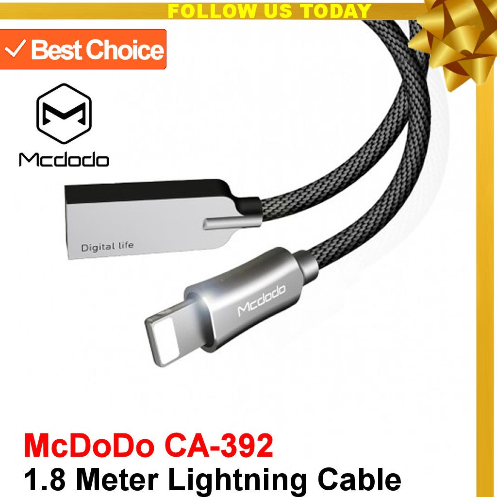 Mcdodo Smart Led Auto Disconnect Lightning Data Charging Cable Knight Series Charger Iphone 18m 12m Shopee Malaysia