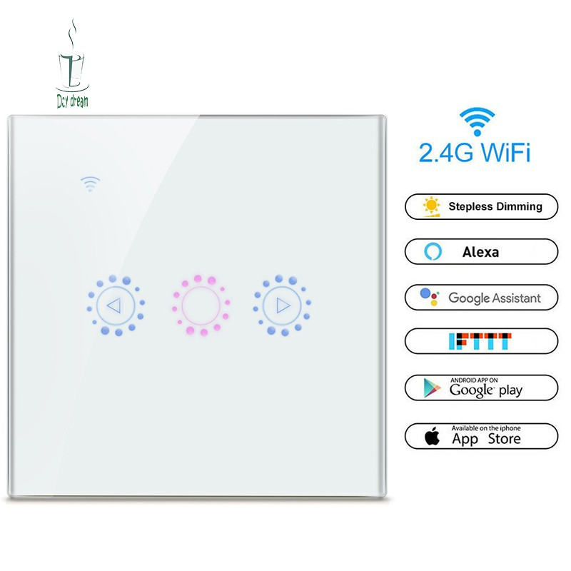SFS✉ Smart Dimmer Wall Switch Wifi On/Off Remote Control for Alexa Amazon  Alexa Echo Google Home