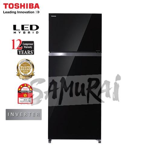 TOSHIBA 2 DOOR INVERTER FRIDGE 480L GLASS BLACK GRAG48MDZ(XK)