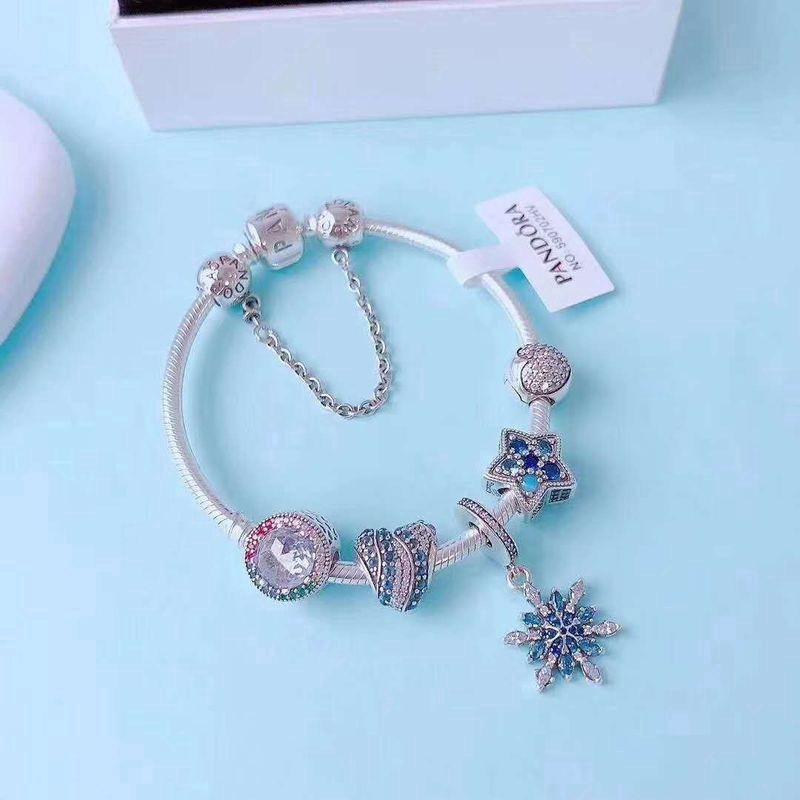 gift Gift Pandora Official Website Pandora/ Pandora Bracelet Woman 925  Silver Blue Ocean Of Heart Snake Chain Send Gift s Suit Gift box