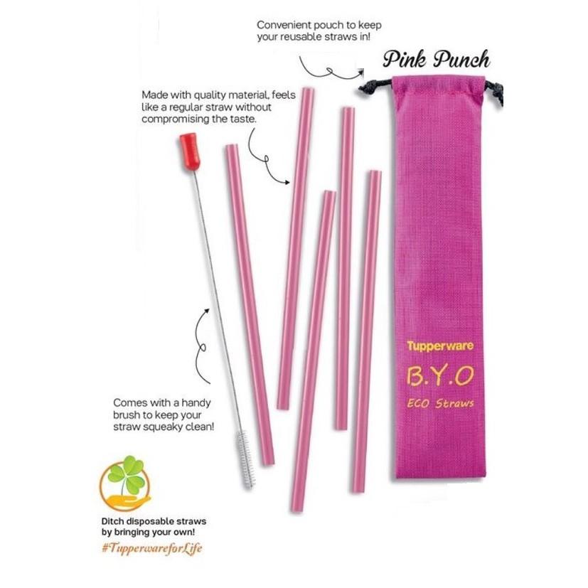 Original Tupperware Eco Straw Brush Set Pink 5+1