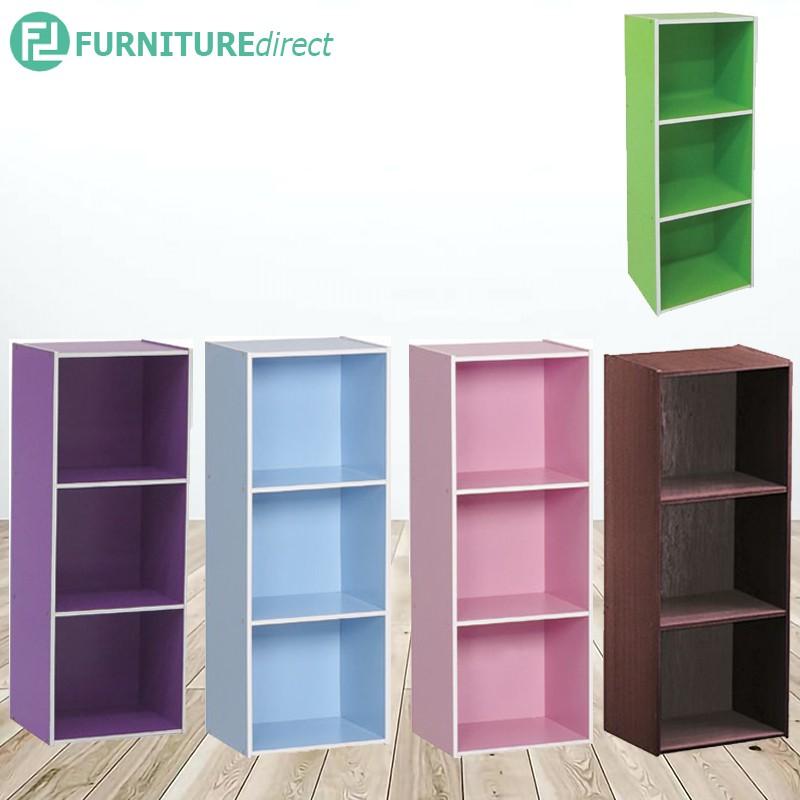 TEAL 3 cube color box in 4 colors/ bookcase/ rak buku/ filling cabinet/book shelf