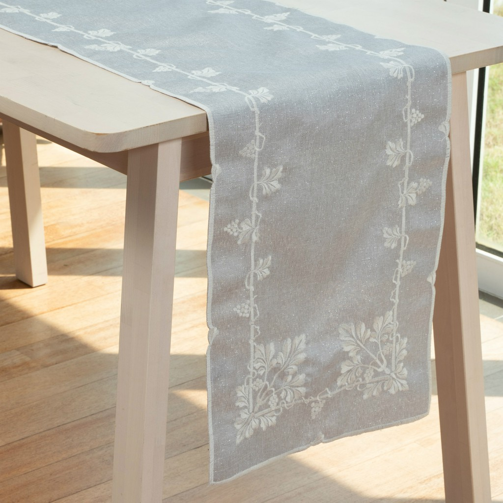 Vineyards Embroidery Table Runner With White Thread Embroidery And Shining Silver Thread Weaving. Multi-Size(Grey)