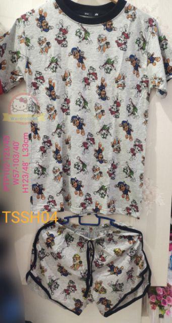 🔥🔥(PROMO) ✨🆕💯👍👕👖Adult cotton cute top +pant (set) 👗popcorn PINK/BLUE/ doggies(grey)