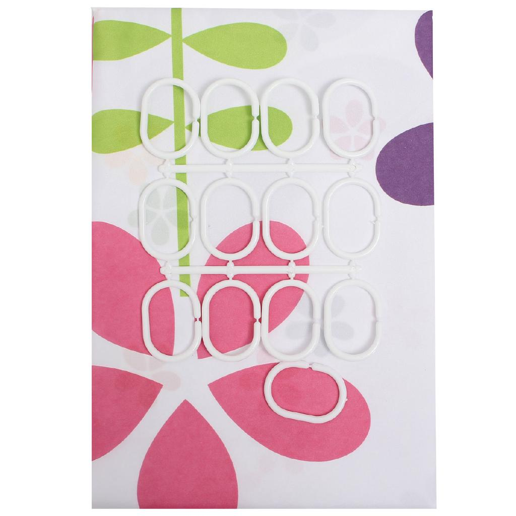 Colourful Flowers Polyester Fibre Waterproof Bathroom Shower Curtain Hooks