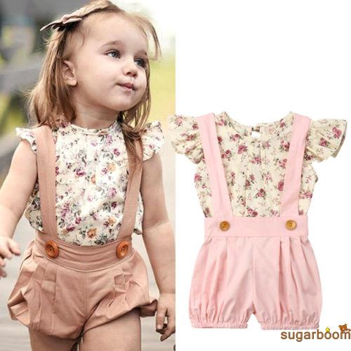 a1475cedc3039 Sgm★Toddler Kids Baby Girl Floral Tops T-Shirt Suspender Shorts 2PCS Outfits