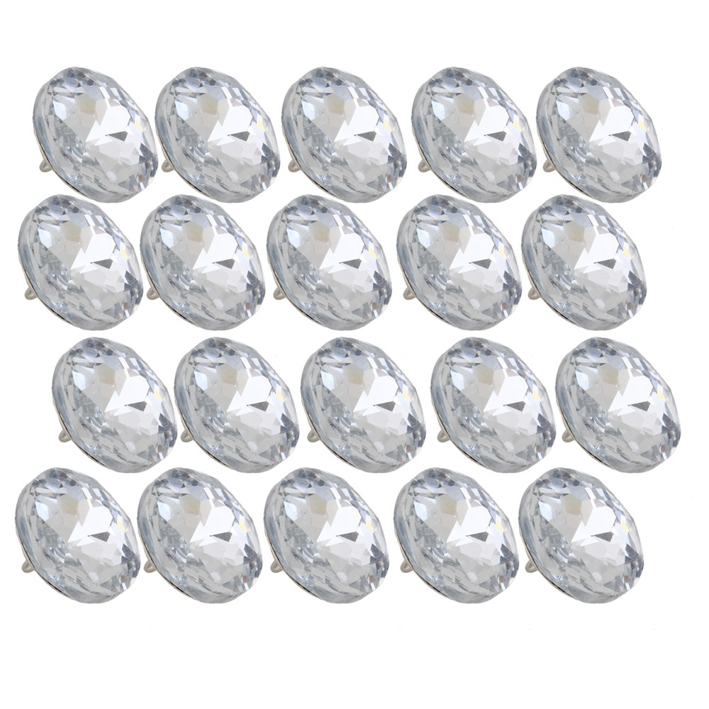 Crystal Upholstery Sofa Buttons Gem Flower 2cm Set of 20 Silver