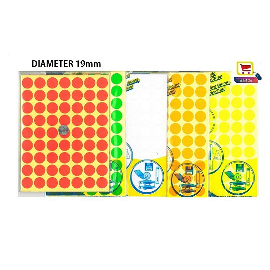 Circle Round Adhesive Label Dot Sticker / Fluorescent & White Color Diameter 19mm (10 Sheets / Pack