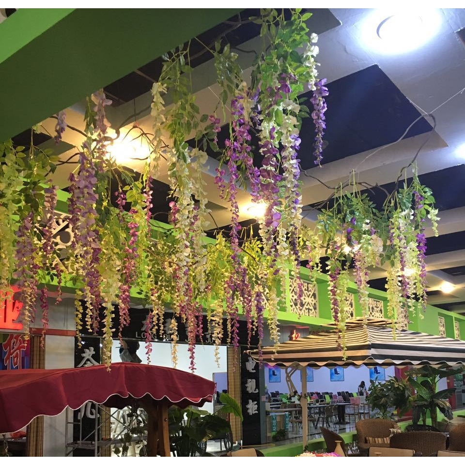 1pcs Wisteria Flowers Vine Silk Flower Wedding Garden Party Hanging Decor Peachy