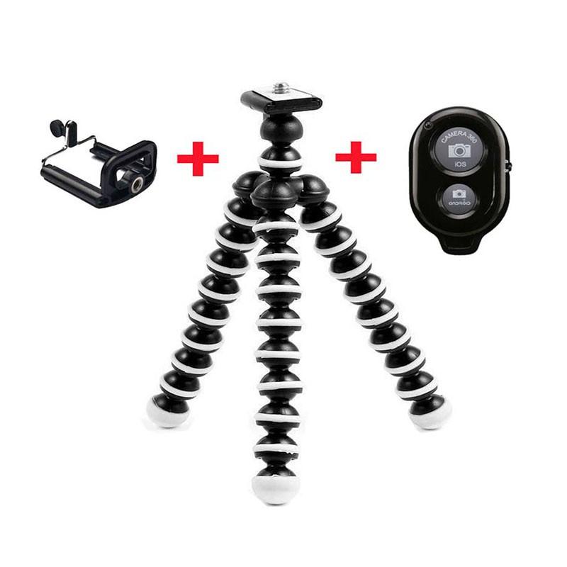 Flexible Mini Selfie Tripod + Bluetooth Shutter Remote Control + Phone  Holder